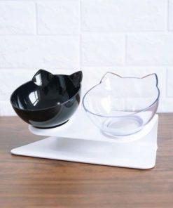Distributeur de nourriture pour chats design double noir transparent