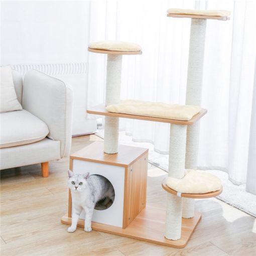 Arbre à chats moderne en bois et corde de jute