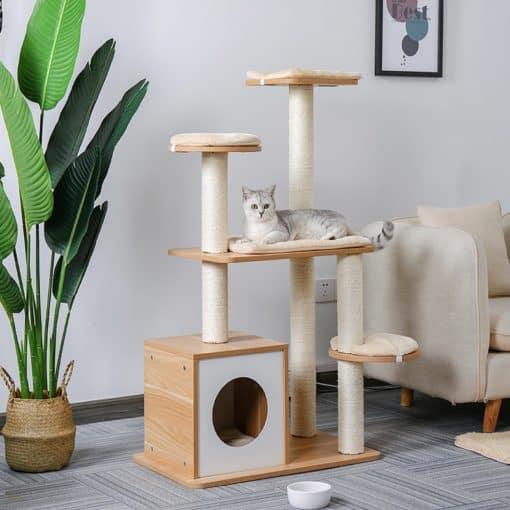 Arbre à chats design en bois et corde de jute