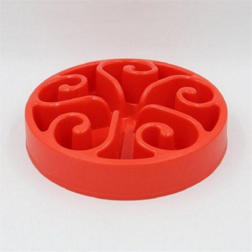 Gamelle anti-glouton plastique rouge