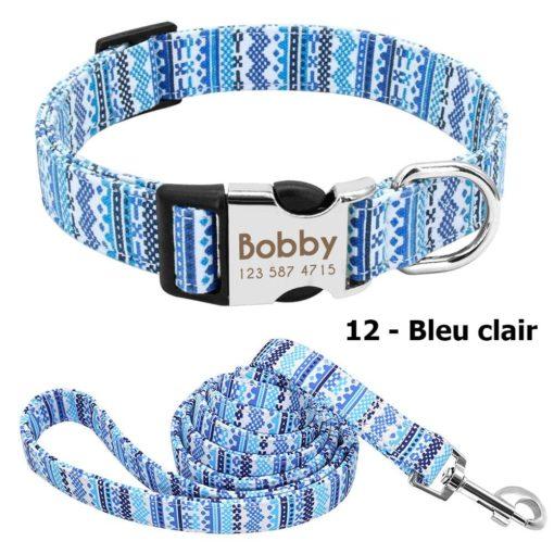 Ensemble collier personnalisé et laisse – Bleu clair