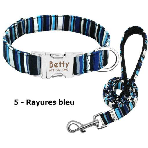 Ensemble collier personnalisé et laisse – Rayures Bleu