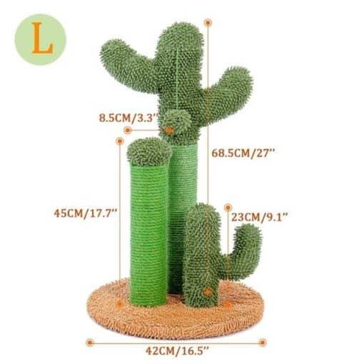 Arbre à chat cactus - Vert et paille - Dimensions